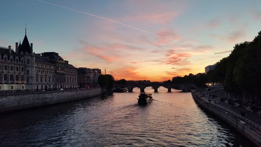Sunset Cloud - Sky Architecture Sky Travel Destinations Outdoors No People City Water Building Exterior Day Paris, France  Sienne Boat