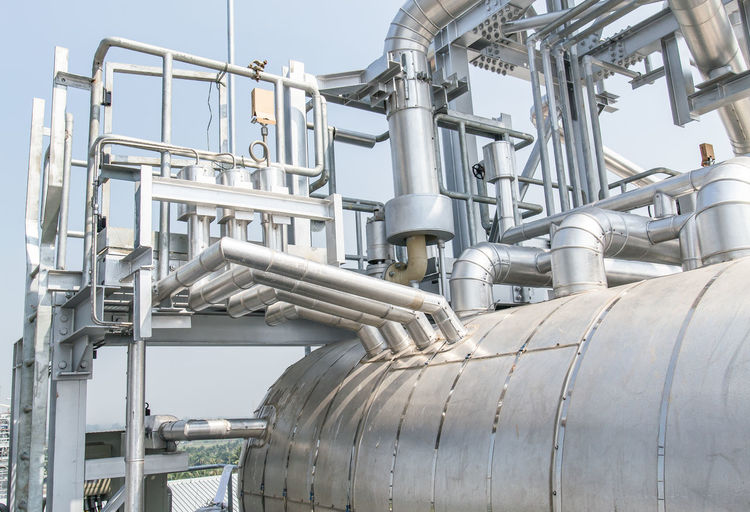 Low Pressure Steam Drum Close-up Day Drum Factory Fuel And Power Generation Industry Machine Valve Metal No People Oil Industry Oil Pump Outdoors Petrochemical Plant Pipe - Tube Pipeline Refinery Technology Tube Water Pipe