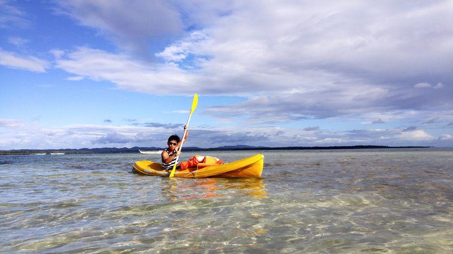 Kayaking! 😄 EyeEm Selects Nautical Vessel Sea Oar Water Kayak Adventure Sky Horizon Over Water Cloud - Sky