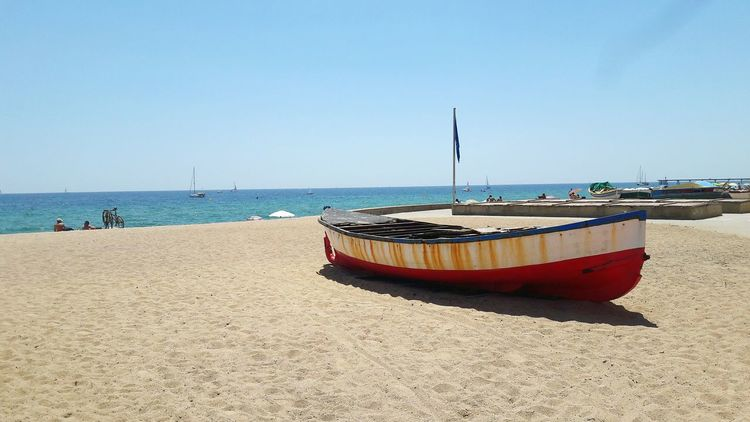 Old Boat Sand Spanish Beach Blue Sea Light And Shadow Summertime Horizon Tom Tom Club