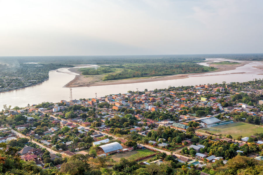 Aerial view of Rurrenabaque, the gateway to the Bolivian Amazon rainforest Amazon Amazon Basin Amazonas Amazonia Beni Beni River Bolivia Cityscape Jungle Landscape Rain Forest Rainforest River Riverside Rurrenabaque Town TOWNSCAPE