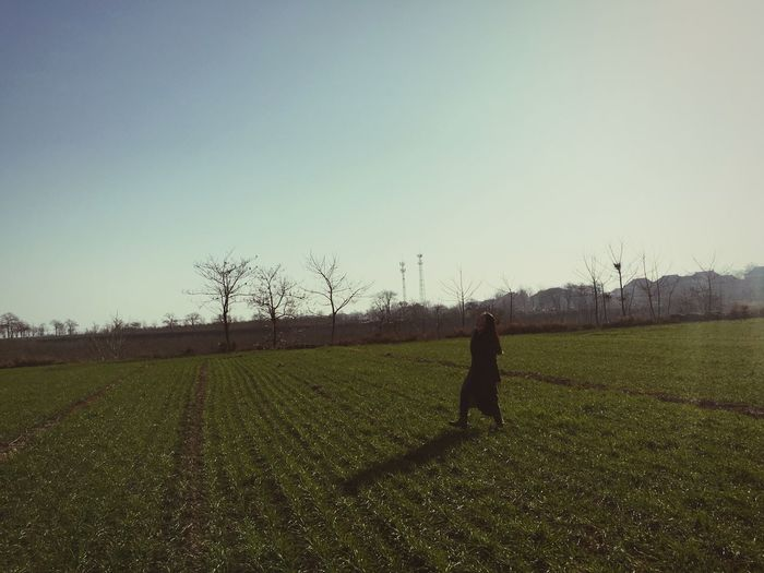Field Agriculture Real People One Person Clear Sky Growth Nature