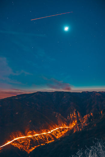 Malibu Canyon Road Night Sky Mountain Beauty In Nature Moon Nature Space Scenics - Nature No People Astronomy Star - Space Glowing Outdoors Environment Tranquil Scene Land Illuminated Tranquility Dusk Burning Moonlight Full Moon Power In Nature My Best Photo