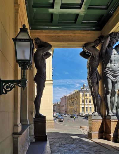 Statue of historic building in city