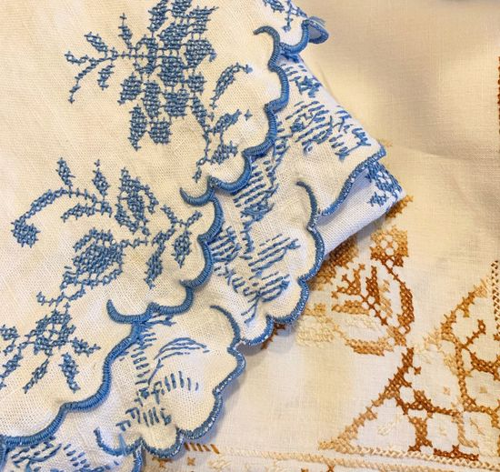 Brown Blue IPhoneography Tablecloth Textile Pattern Indoors  Close-up No People Floral Pattern Full Frame Still Life High Angle View Art And Craft Backgrounds Textured  Furniture Embroidery