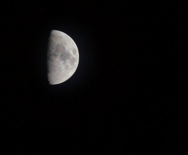 Half a moon is better than none! 365project Astronomy Beauty In Nature Clear Sky Moon Moon Surface Nature Night Outdoors