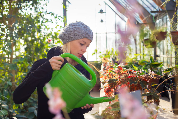 Beautiful woman watering plants in greenhouse