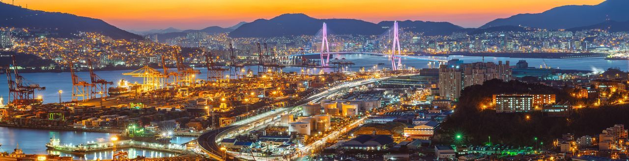 Busan City Korea Landscape Cityscapes Night Night View Nightscape Panorama