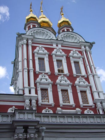 Gate Church of the Transfiguration (1688), Novodevichy Monastery Blue Sky White Clouds Building Building Exterior Cathedral Church City Composition Day Façade Gate Gold Domes Monastery Moscow No People Novodevichy Monastery Outdoors Red And White Colour Religion Russia