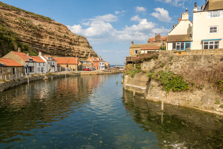 Staithes North Yorkshire Water Built Structure Architecture Building Exterior Building Waterfront House Reflection Sky Residential District Nature Day No People Cloud - Sky City Outdoors River Mountain Plant TOWNSCAPE Row House