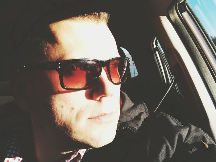 Selfie Toruń In Car Glasses Looking Forward Looking Out Of The Window