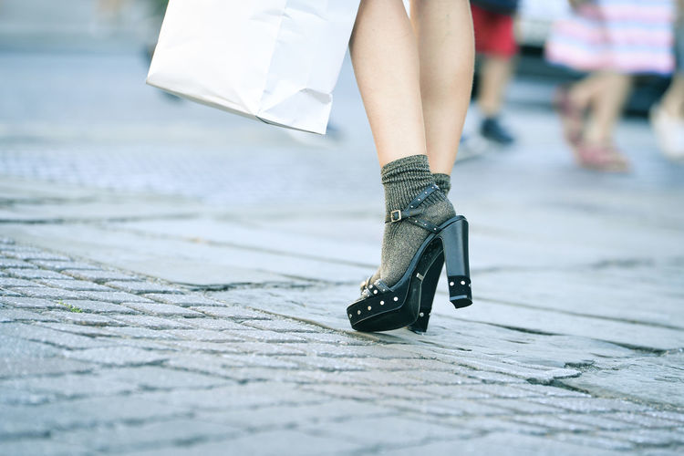 Yes. Some people have style. British Fashion Fashionista Grey Lifestyles Low Section Sandals Selective Focus Shoes Shopping Socks Streetphotography Style Stylish Walking Women Who Inspire You The Street Photographer - 2017 EyeEm Awards Fashion Stories