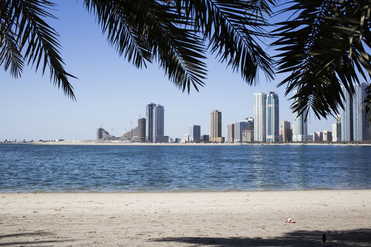 View of beach with city in background
