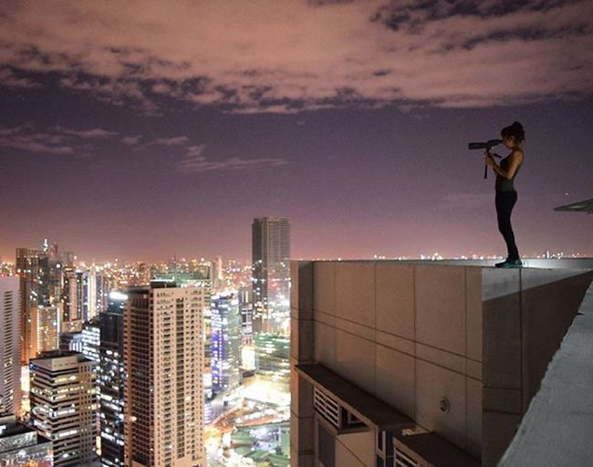I spy with my little eye... Ontheroof Roofculture Pk Parkour Parkourgirl Telescope Night Sky Lights Heights City View Explore Urbanexplore Manila