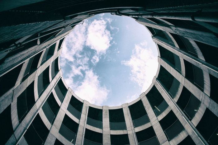Look up Cloud - Sky Low Angle View Sky Window Architecture Built Structure Day No People Modern Building Exterior Outdoors Visitdenmark Denmark Salling