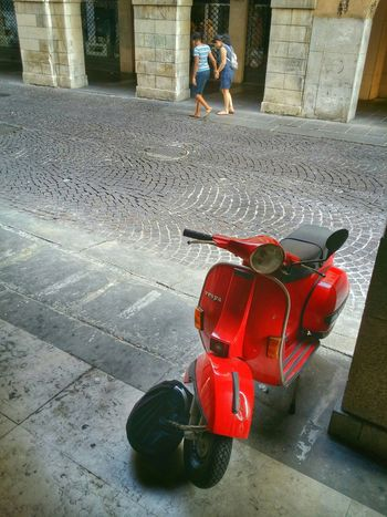 Red cult, Padua, Italy Traveling Italy Padua Mobile Photography Art Fineart Urban Architecture Historical Buildings Arcades Red Vespa