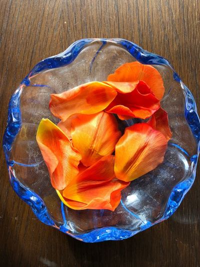 High angle view of orange slices in plate on table
