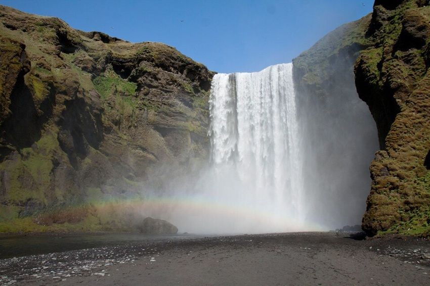 Nature Beauty In Nature Waterfall Water Scenics Motion Cliff Rock - Object Idyllic Power In Nature Day Sky Travel Destinations No People Tranquil Scene Tranquility Outdoors Freshness Iceland