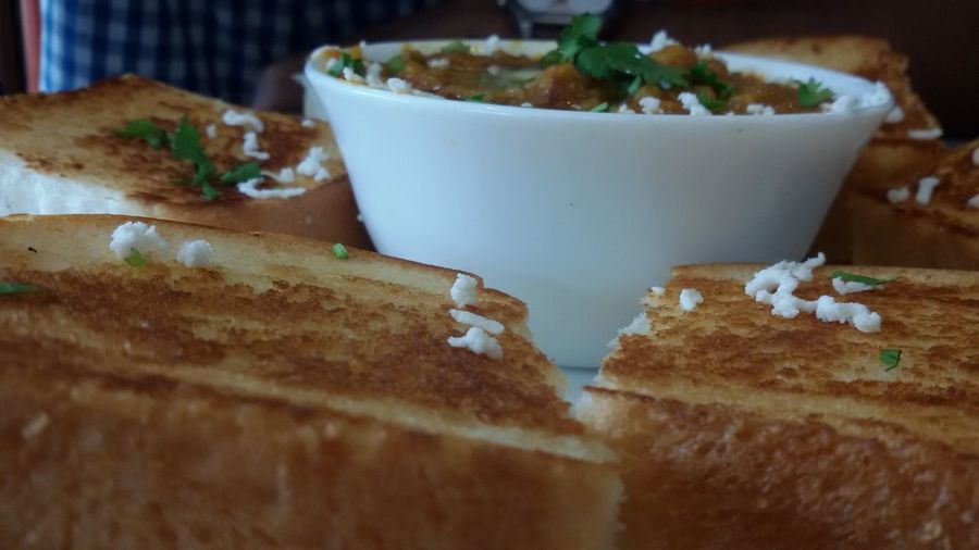 Close-up of pav bhaji