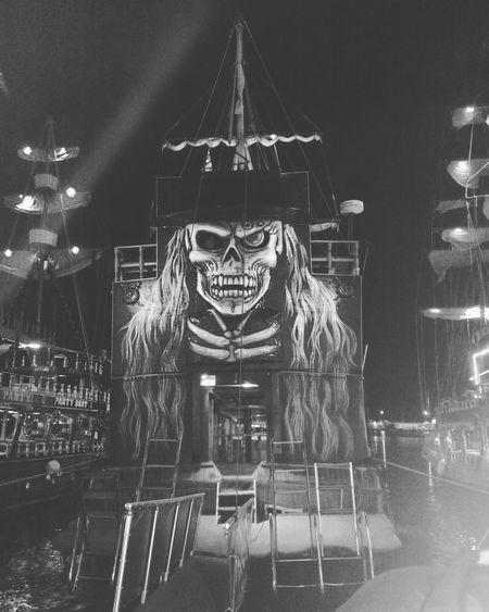 Pirate Ship Scary Asitseems Vikingline ⚓ Akdeniz Happyday 🎈🎈🎈 Lovely Night Illuminated City Sky Outdoors Culture