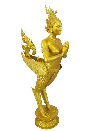 Isolated Thai Thailand Art And Craft Belief Close-up Copy Space Craft Creativity Cut Out Gold Gold Colored Human Representation Indoors  Isolated White Background Male Likeness No People Religion Representation Sculpture Spirituality Statue Statue Thailand Studio Shot White Background