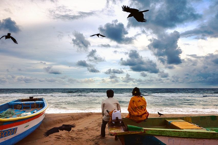 Feel The Journey Travel Photography Travel Destinations Sea And Sky Ocean Birds Mahabalipuram Beach Couple Tranquility Clouds Landscape Watching The Sunset