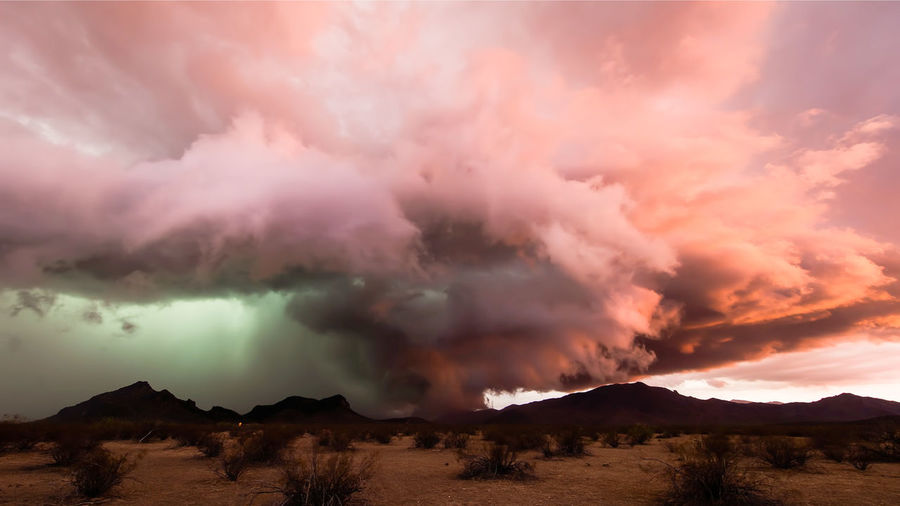 Panoramic view of dramatic sky over land