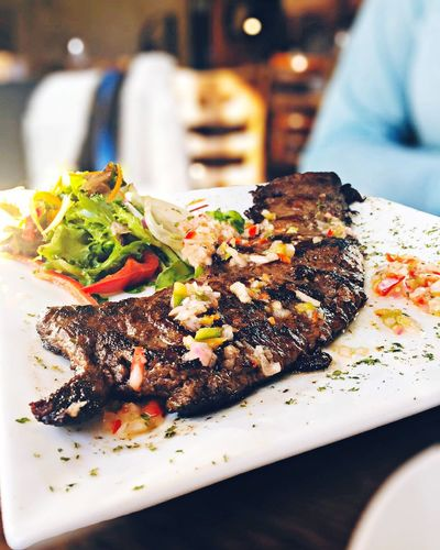 Close-Up Of Fresh Churrasco Served In Restaurant