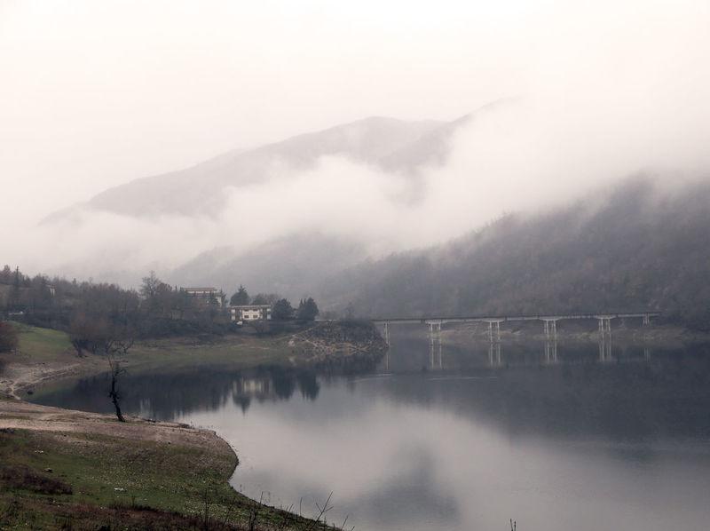 Bridge Built Structure Fog Lago Del Turano Lakeshore Landscape Mist River Scenics Silence Tranquil Scene Water