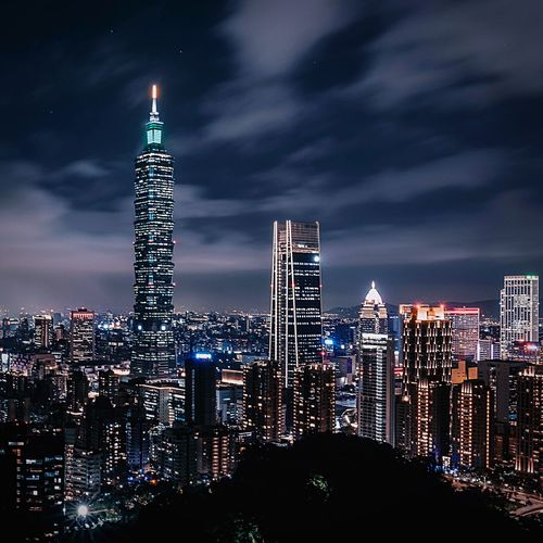 Taipei in the night Architecture Built Structure Building Exterior Building Sky City Skyscraper Tall - High Office Building Exterior Tower Illuminated Cityscape Night Modern Cloud - Sky Travel Destinations Office Urban Skyline Landscape No People