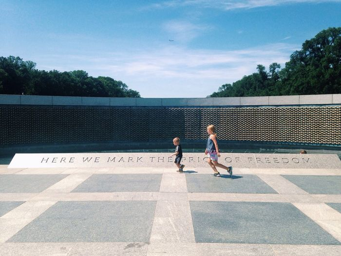 "WWII memorial in DC. ""Here we mark the price of freedom"". Kids Running Never Forget Remember"