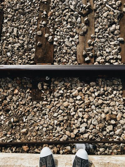 Feet in the rails Railroad Track Stone - Object Rail Transportation Rock - Object Standing Railroad Tie Pebble Low Section Day Human Body Part Outdoors One Person Close-up People Suicide Feeftie Sadness Depressed Depression Depressive