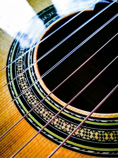 Classic Guitars Acoustic Sound Chords Of The Heart Close-up Backlight Reflections Geometric Decorations Selective Focus