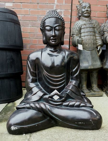 Buddha Statue Buddha For Sale Black Buddha Serene Face Garden Centre Garden Ornaments Barrels Chinese Warriors England, UK EyeEmNewHere Samsung Galaxy S7
