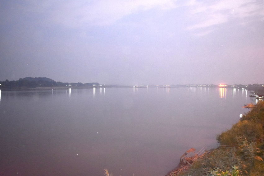 Fresh Air Lao Tourism Nong Khai Tourist Attraction Silhouette Thai-Lao Border Thai-Lao Border River Cool Atmosphere Night Sky No People Outdoors Sky Thai Tourism Very Early Morning Makong River View As Background