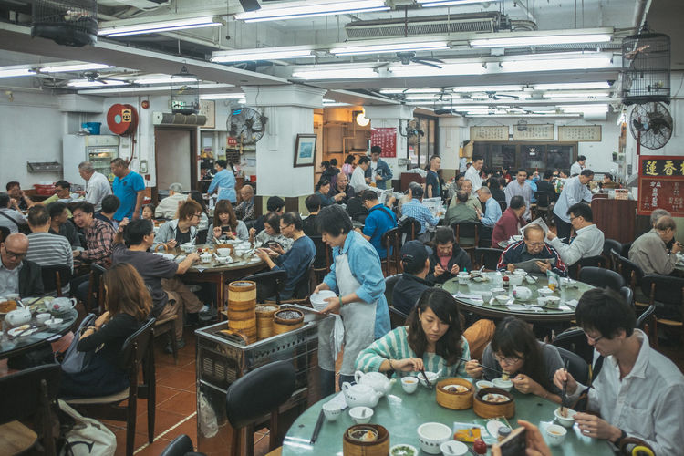 People having food in restaurant