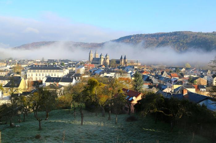 Echternach, Luxembourg Houses Abbey Basilica Church Cloud - Sky Human Settlement Morning Mist Outdoors Residential District River Saint Willibrord Sky Springtime Dancing Procession UNESCO World Heritage Site Town Churches Urban Spring Fever Urban Landscape