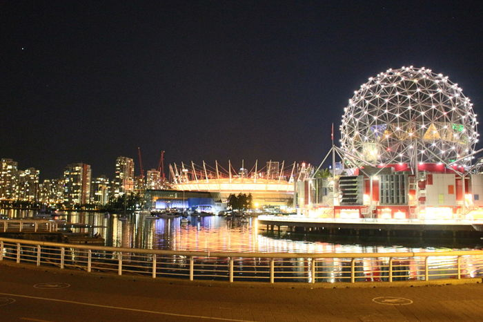Architecture BC Place Bridge City Life Harbor Illuminated Night Reflections In The Water River Science World  Sea Tourism Transportation Vancouverisawesome Water Waterfront