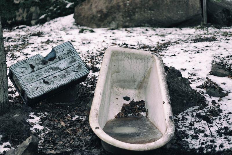 Close Up Of Abandoned Bathtub