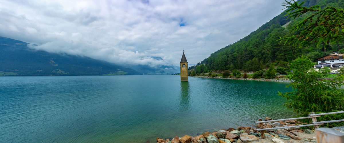Kirche Im Wasser, Panorama Panoramic Rechensee, Architecture Beauty In Nature Building Cloud - Sky Day Land Nature No People Outdoors Plant Scenics - Nature Sky Tourism Tower Travel Travel Destinations Tree Water