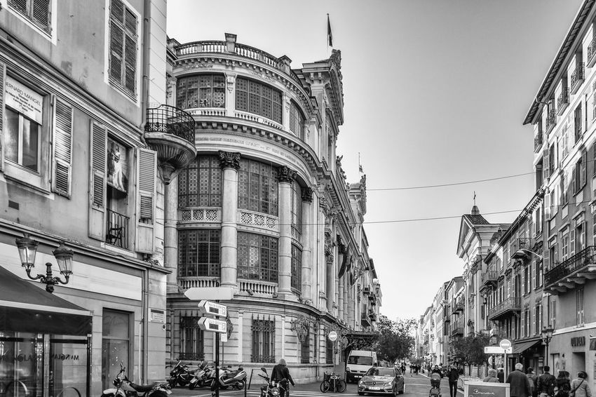 Architecture Black And White Building Exterior Built Structure City Clear Sky Day French Riviera Large Group Of People Nice France Old Town Outdoors People Real People Street
