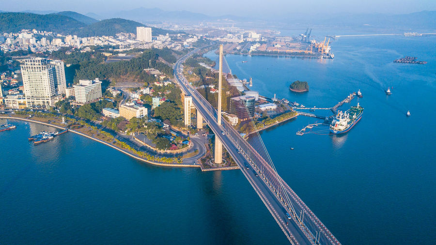 High angle view of buildings in city, ha long city, quang ninh province, vietnam