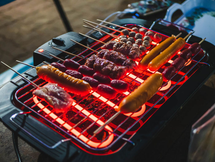 High angle view of barbecue grill