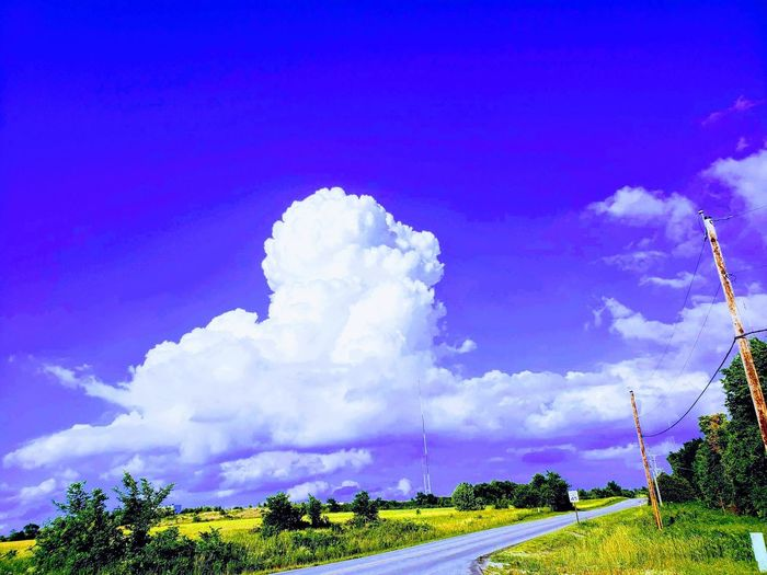 Country Clouds Stylized Sky Photo Evening Sky Open Road Country Drive Landscapes Purple Skys White Clouds Tree Blue The Way Forward Country Road