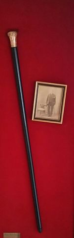 Cane Cane And Picture Close-up Colored Background Great Great Grandfather Thomas Burke Stringe Man Holding Cane Red Red Background Two Objects Walking Cane