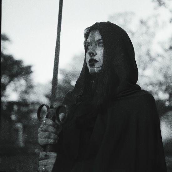 ritual Witch Dark Photography Cloak Dark Sword Graveyard Cemetery Dagger Darkart Portrait 120 Film Yashica Yashicamat124g Film Photography Analogue Photography Halloween Spooky Horror Sky