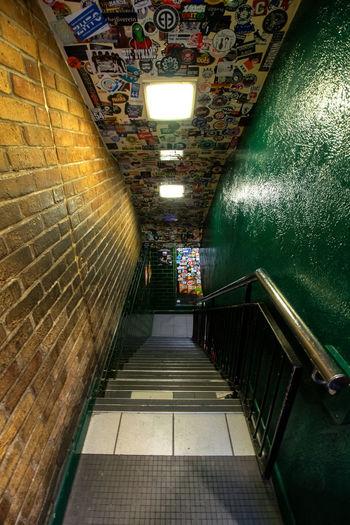 Narrow stairs along walls
