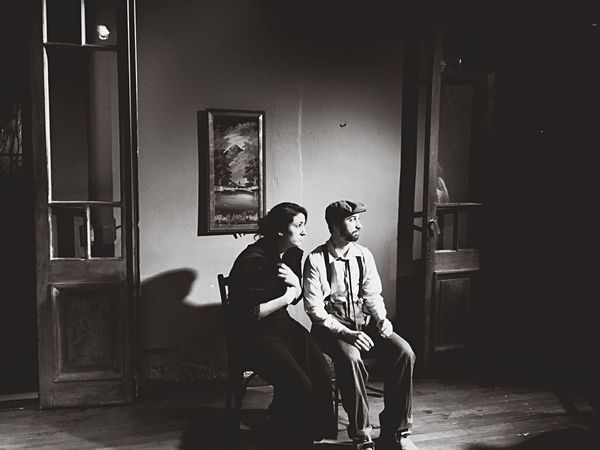 Monochrome Photography Sitting Indoors  Domestic Life Theatre Foreign Casual Clothing Vintage Old-fashioned Old Town Argentina History Interpretation Hat Boina Women Housewife Old Couple Italian