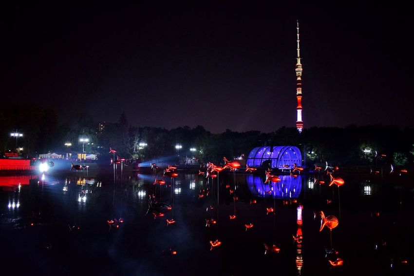 ✨ Inspiration Art Festival ✨ Night Illuminated Built Structure Architecture Building Exterior Sky Outdoors Water Travel Destinations City Art Installation Water Reflections Pond Ostankino Tower Night Lights Night Photography Art Event Neon Life Art Festival Arts Culture And Entertainment Nightphotography Reflection