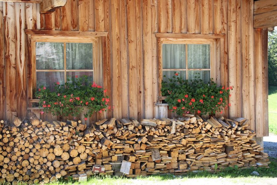 Wood - Material Woodpile House Log Day Outdoors No People Built Structure Windows With Flowers Windows